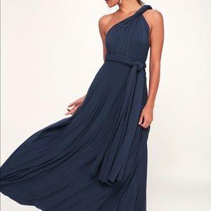 Lulu Tricks of the Trade Navy Blue Maxi Dress